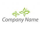 Zwei Schmetterlinge in grün Logo
