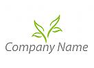 Vier Blätter, Pflanzen, Baum in grün Logo