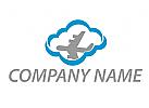 Wolke und Flugzeug Logo