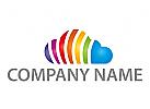 Wolke, farbig, Regenbogen Logo