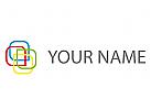 Vier Rechtecke, farbig Logo