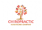 Chiropraktik Logo, Rücken Logo, Wirbelsäule Logo, Massage Logo, Baum Logo