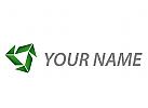 Rauten und Dreiecken in grün Logo