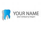 Zähne in Blau und Grau, Zahnarzt Logo