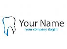 Zähne, Zahn in blau und grau Logo