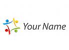 Vier Personen, Team, Familie Logo