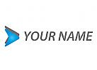 Zwei Pfeile, Dreiecke, Multimedia Logo