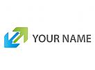 Zwei Pfeile in grün und blau Logo