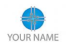 Kreis, Kontakte, Chip, Platine Logo