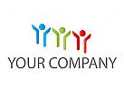 Menschen, Drei Personen, farbig Logo