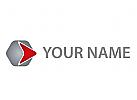 Pfeil, Sechseck, Multimedia Logo