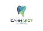 Zahnarzt Logo 3 Farben Herzform