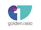 Logo im goldenen Schnitt, Ziffer 1 negativ in einer Spirale