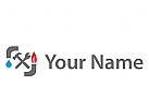 Wasser und Feuer, Klempner Logo