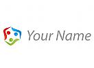 Team, Drei Personen, Menschen, farbig Logo