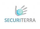 Logo, Globus, Erde, Hand, Schutz, Sicherheit