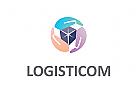 Logo, Hand, Box, Transport, Logistik