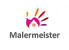 Logo, Haus, Immobilie, Fassade, Hand, Maler, Malermeister