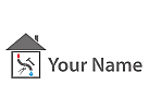 Wasser und Feuer, Haus, Klempner Logo