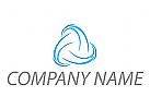 Wellen, Linien, Spirale in Blau Logo