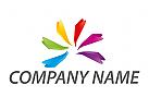 Viele Farben Logo, Spirale, Maler Logo