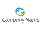 Zwei Personen, Menschen, abstrakt Logo