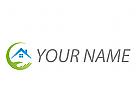 Ökohaus, Hand und Haus, Dach, Immobilien Logo