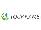 Ökologisch, Zeichen, Zeichnung, Symbol, Signet, Immobilien, Hand und Häuser, Logo