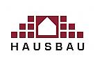 Zeichen, Zeichnung, zweifarbig, Signet, Symbol, Logo, Bau, Haus, Immobilie, Grundbesitz, Handwerk, Klinker