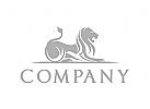 Löwe Logo, König Logo, Investitionen Logo, Silber Logo
