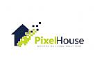 Pixel Logo, Haus Logo, Immobilien Logo, Bau Logo