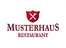 Restaurant Logo Wappen Messer Gabel