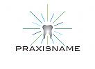 Logo, Zahn, Strahlen, Laser, Zahnarztpraxis, Dentallabor