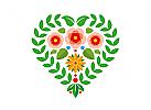 Blüten und Blätter bilden ein Herz