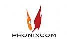 Logo, Phönix, Vogel, Flammen, Feuer