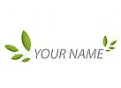 Viele Blätter, Pflanzen in grün Logo