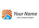 Sonne und Haus, Dach, Immobilien Logo