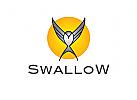 Logo, Schwalbe, Vogel, Sonne, Abstrakt