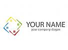 Vier Dächer, Häuser, farbig, Dachdecker Logo