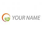 Zwei Personen, Menschen und Sonne Logo