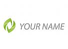 Zwei Blätter, Pflanze, abstrakt Logo
