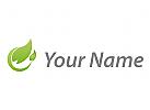 Zwei Blätter, Pflanze in grün Logo