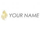Wellen, Linien in Gold Logo