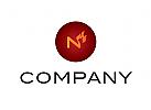 Logo, Flamme, Feuer, Kaminbau, Heizungsbau, Buchstabe, N, Z