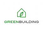 Öko, Zeichen, Signet, Logo, Haus, Blatt, Natur, Hausbau, Ökologisch, Immobilie
