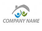 Ökologie, Menschen, Haus, Immobilien, Logo