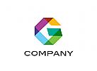 Logo, Transparenz, Segmente, Buchstabe, G, Abstrakt