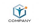 Logo, Mensch, Box, Konzept, Logistik, Transport, Produktmanagement