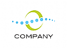 Logo, Orthopädie, Physiotherapie, Wirbelsäule, Kugeln, Schweif, Bogen, Abstrakt