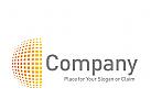 Logo kleine Quadrate zum Halbkreis